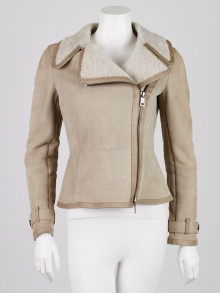 Burberry London Beige Shearling Harpswell Jacket Size 4