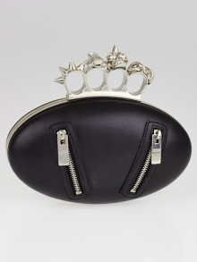 Alexander McQueen Black Leather Biker Knuckle Oval Clutch Bag
