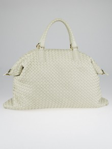 Bottega Veneta White Intrecciato Woven Nappa Leather Convertible Tote Bag
