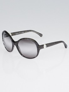 Chanel Black Glitter Acetate Frame Pearl CC Sunglasses-5211-H