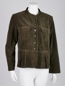 Burberry London Green Cotton Blend Corduroy Peplum Jacket Size 10