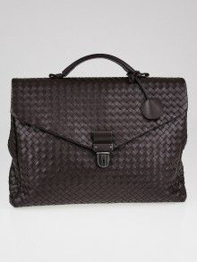 Bottega Veneta Dark Sergeant Intrecciato Woven VN Leather Small Briefcase