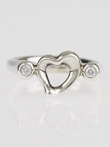 Tiffany & Co. Sterling Silver and Diamond Elsa Peretti Open Heart Ring Size 5