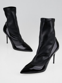 Alexander McQueen Black Leather and Patent Leather Ankle Boots Size 8.5/39