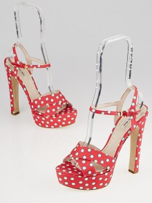 Miu Miu Red/White Polka Dot Canvas Strappy Platform Peep-Toe Sandals Size 7.5/38