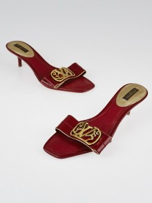 Louis Vuitton Red Patent Leather Slide Sandals Size 5.5/36