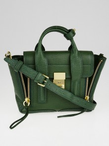 3.1 Phillip Lim Jade Green Pebbled Leather Mini Pashli Satchel Bag