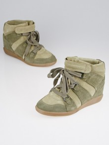 Isabel Marant Taupe Calf Suede Bluebel Sneaker Wedges Size 6.5/37