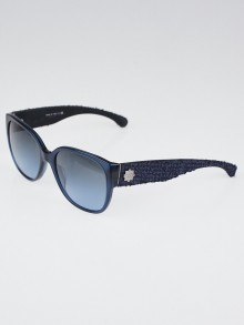 Chanel Blue Frame and Tweed Oversized Sunglasses-5237