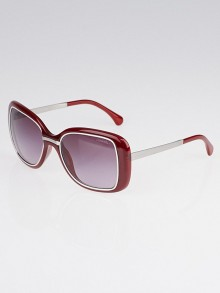 Chanel Dark Red Oversize Plastic Frame Logo Sunglasses-6044
