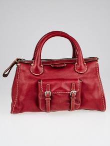 Chloe Red Leather Edith Satchel Bag