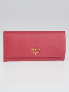 Prada Peonia Saffiano Metal Leather Continental Wallet 1M1132