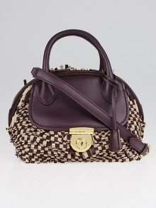 Salvatore Ferragamo Purple/Beige Small Fiamma Fringe Bag