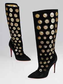 Christian Louboutin Black Suede Goldtone Eyelet Apollo 100 Knee High Boots Size 5.5/36