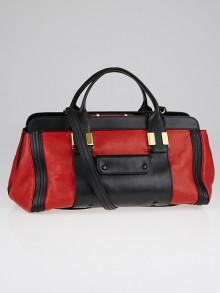 Chloe Red/Black Leather Colorblock Medium Alice Satchel Bag