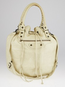 Balenciaga Praline Lambskin Leather Pompon Bag