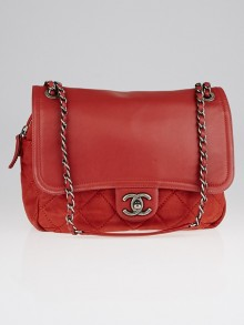 Chanel Red Quilted Iridescent Calfskin Leather In-the-Mix Flap Bag