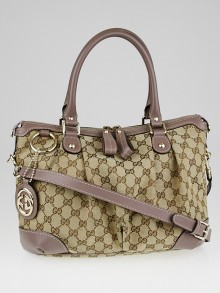 Gucci Beige/Purple GG Canvas Sukey Top Handle Bag