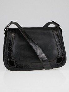 Cartier Black Lambskin Leather and Snakeskin Marcello de Cartier Saddle Bag