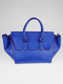 Celine Cobalt Calfskin Leather Large Tie Tote Bag
