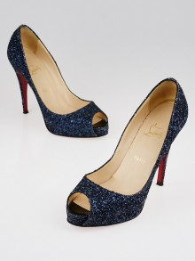 Christian Louboutin Blue Glitter Very Prive 120 Peep Toe Pumps Size 10/40.5