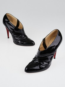 Christian Louboutin Black Patent Leather Ruched Ankle Boot Size 10.5/41