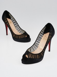 Christian Louboutin Black Ruched Satin Peep Toe Pumps Size 10/40.5