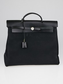 Hermes 40cm Black Canvas and Vache Calfskin Leather 2-in-1 Herbag GM Bag