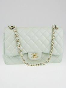 Chanel Light Green Quilted Lambskin Leather Classic Jumbo Double Flap Bag