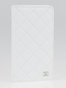 Chanel White Quilted Caviar Leather Agenda Notebook