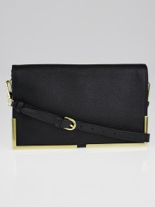 3.1 Phillip Lim Black Leather Goldtone Metal Frame Scout Clutch Bag