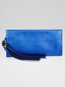 Gucci Metallic Blue Nouveau Leather Bamboo Tassel Large Clutch Bag
