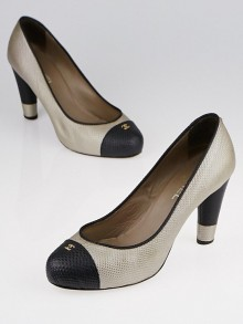 Chanel Light Gold/Black Embossed Leather Cap Toe Pumps Size 9/39.5