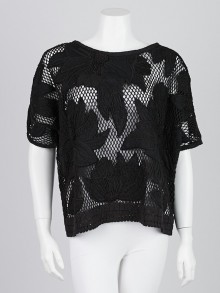 Isabel Marant Etoile Black Cotton Open-Knit Short Sleeve Pullover Sweater Size L