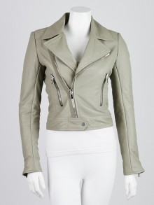 Balenciaga Grey Lambskin Leather Classic Biker Jacket Size 4/36