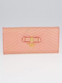 Prada Pink Quilted Leather Bow Flap Wallet