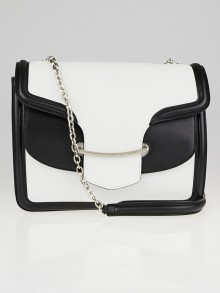 Alexander McQueen White and Black Leather Heroine Shoulder Bag