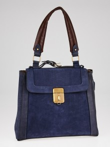 Chloe Blue Brushed Leather Darla Shoulder Bag