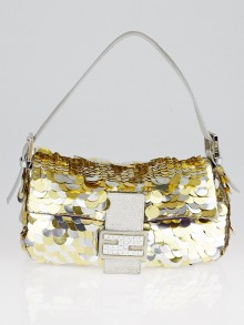 Fendi Gold/Silver Sequin Baguette Bag