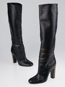Gucci Black Leather Jacquelyne Studded Heel Tall Boots Size 6.5/37