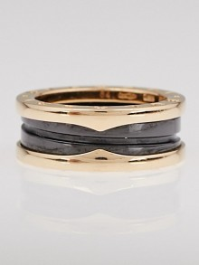 Bvlgari 18k Pink Gold and Black Ceramic B.Zero1  2 Band Ring Size 7/54