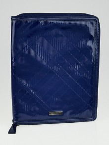 Burberry Jet Blue Check Embossed Patent Leather iPad Cover
