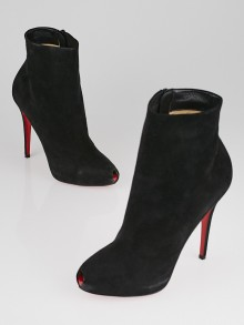 Christian Louboutin Black Suede Peep Toe Ankle Boots Size 9.5/40