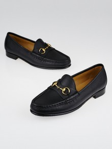 Gucci Black Leather Horsebit Loafers Size 7/37.5