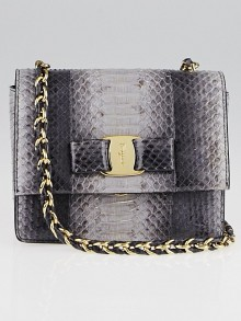 Salvatore Ferragamo Purple Python Mini Ginny Crossbody Bag