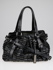 Burberry Black Patent Leather Cartridge Pleated Large Lowry Tote Bag