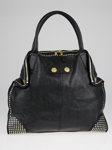 Alexander McQueen Black Leather Large Studded De Manta Tote Bag