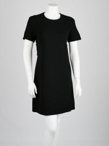 Prada Black Wool Short-Sleeve Shift Dress Size 8/42