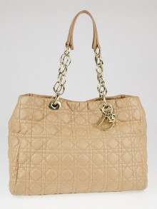 Christian Dior Beige Cannage Quilted Lambskin Leather Dior Soft Shopping Tote Bag