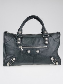 Balenciaga Anthracite Lambskin Leather Giant 21 Silver Work Bag